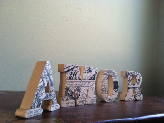 AMOR Wood Letters with Upcycled French Hulk Comic in Black and White