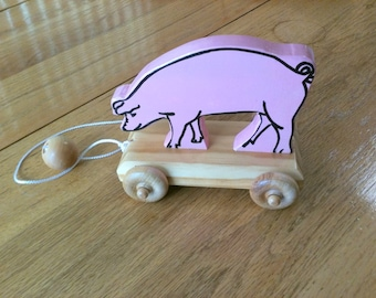 "1940's Style, ""Percy"" the Pink Pig"", Kids Toy, Old is New Woodworking"