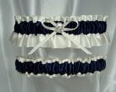 Ivory and Navy Blue Satin Garter Set
