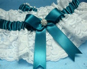 White Lace and Green Satin Garter Set