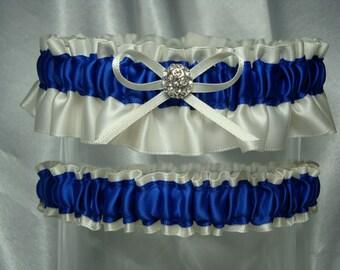 Ivory and Royal Blue Satin Garter Set