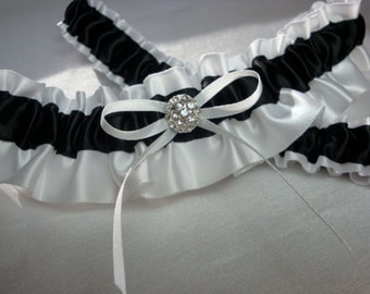 White and Black Satin Garter Set