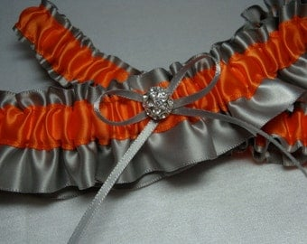 Gray and Orange Satin Garter Set