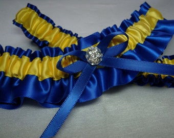 Royal Blue and Yellow Satin Garter Set