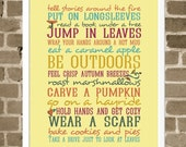 Autumn Typography Print  - Seasonal Activities - Mustard Yellow - Illustrations and Word Art - Typography Art Print - Autumn Harvest