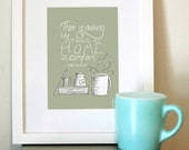 Jane Austen Quote Print - 5x7 Home Art - Coffee Mug and Book Modern Illustration - Book Lovers Print - Sketch Illustration - Free Shipping