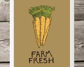 Kitchen Art - Farmers Market Illustration for Gourmet - Art for Kitchen - 8x10 Culinary Art - Rustic Farm Fresh Carrots - Kitchen Art