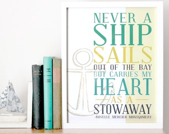 Nautical Decor Art Print - Ship Typography Quote - Anchor Illustration - Never a Ship Sails out of the Bay - Ocean Sea Decor - Free Shipping