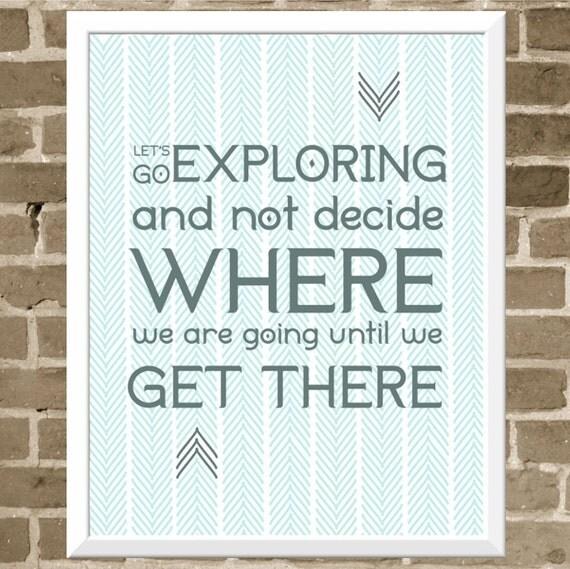Adventure Travel Print 11x14 Let's Go Exploring by ...