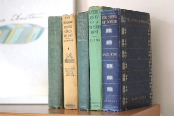Antique and Vintage Books Set - Blue Green Vintage Books - Vintage Chic Home Decor - Home Library Decor - Vintage Book Instant Collection
