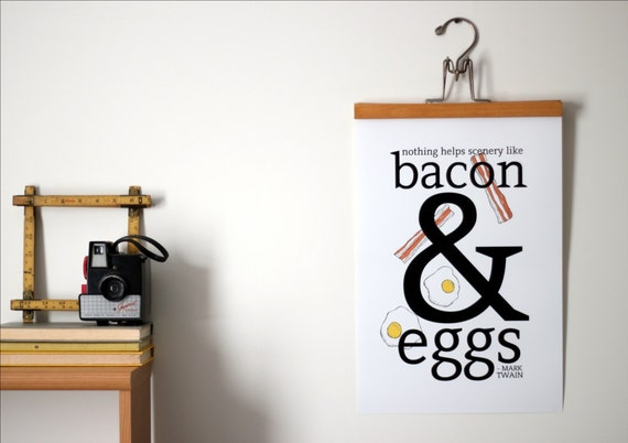 Bacon Mark Twain Quote - Bacon and Eggs Minimalist Poster - 12x18 Ampersand Typography Poster - Bacon Art for Guys, Men - Free Shipping
