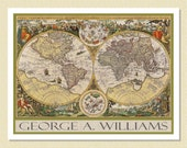 Personalized Note Cards - Charming Antique Map (10 Folded)