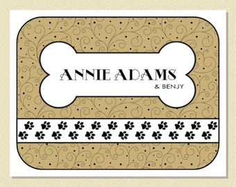 Cute Dog Bone Note Cards - Personalized (10 Folded) A Delight For Dog Lovers