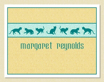 Feline Frolics - Note Cards For Cat Lovers - Personalized (10 Folded)