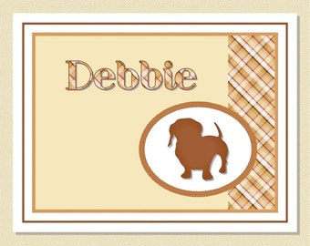 Delightful Dachshund Note Cards - Personalized (10 Folded)