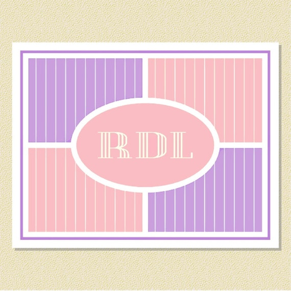 Pretty Pastel Pinstripes - Personalized Note Cards (10 Folded)