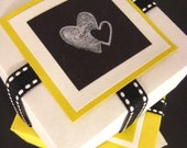 Gift Boxes. Set of 3. White, Yellow and Black. Taxi Love