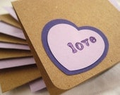 Mini Note Cards. Envelopes. Gift Box. Gifting Set in Purple & Kraft. Love Hearts