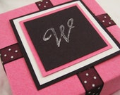 RESERVED for Karen. Personalized Gift Box for Her. Hot Pink with Black and White with Custom Initial