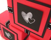 Gift Box. in Red, Black and White. Berry Hearts