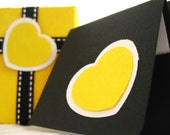 Note Cards and Gift Box. Set of 10. Bizzy Hearts in Yellow, Black and White