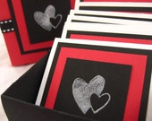 Berry Hearts. Note Cards and Gift Box. Set of 10