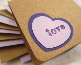 Love Hearts. Mini Note Cards with Envelopes. Matching Gift Box. Gifting Set in Purple, Lilac & Kraft. Blank Inside. for Giving... with Love