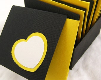 Note Cards & Gift Box. Set of 8 with Matching Envelopes. Bizzy Hearts in White and Black with Yellow. Hand-folded. for Giving... with Love