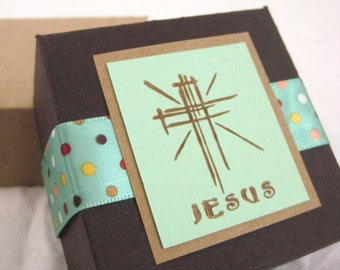 Jesus Gift Box. in Chocolate Brown, Mint Green and Polka Dots. Christian Cross. Hand-folded Keepsake. for Giving.. with Love. by la Naváa