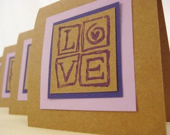 Note Cards & Gift Box Set. Love Squared. in Purple, Lavender and Kraft Brown. Blank Inside. Hand-folded. for Giving... with Love
