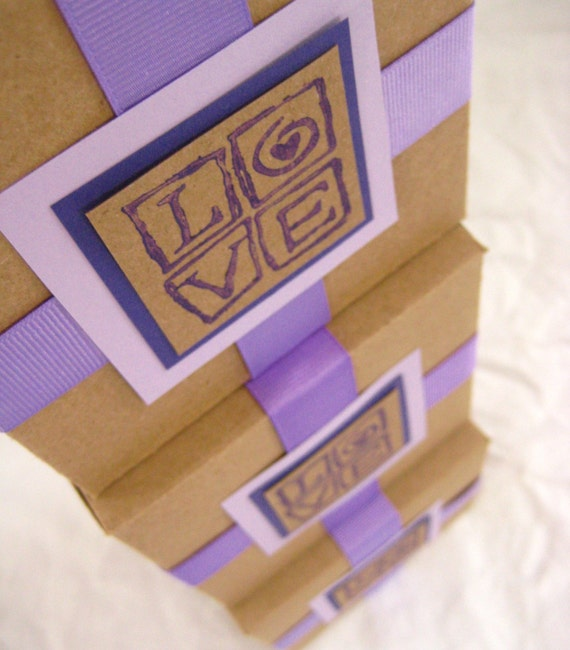 Love Squared. Gift Box. Purple, Lilac and Kraft. Upcycled. Hand-folded Keepsake. for Giving... with Love