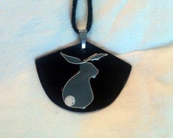 Large Modern Design Bunny Butt Pendant/ Copper Enamel and Fine Silver