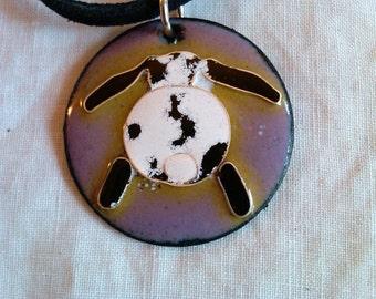 Lop Eared Bunny Butt Pendant/ Copper Enamel and Fine Silver Cloisonné