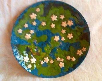 Blue and green copper enamel bowl, fine silver flowers