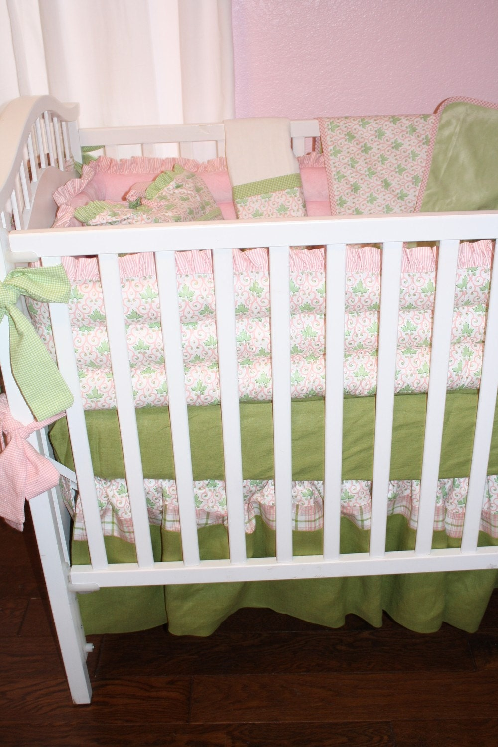 Great Sale Girls Pink Mint Green Baby Bedding For Crib