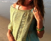 The Samantha Knit Capelet, beach wrap, cover-up,knitting pattern pdf, women, teens,dropped stitches, sequins, kiwi green