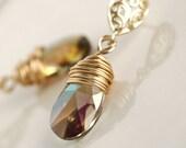 Crystal Necklace set, Swarovski Bridal Earrings, Purple Earrings, Gold Earrings, Wire Wrapped Earrings