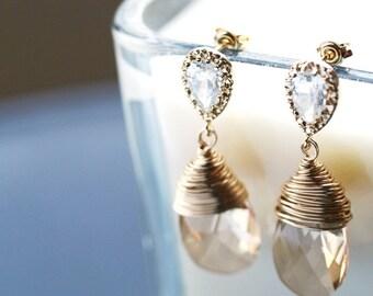 Swarovski Champagne Crystal Earrings, Golden Shadow, Luxe, Sterling Silver, Bridal Wedding Jewelry by SimplySleek