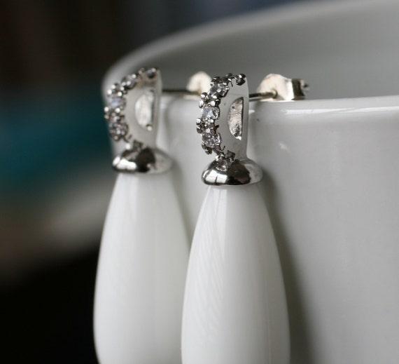 White Agate Earrings, Gemstone Earrings, White Earrings, Sterling Silver Post, Crystal Embedded Earrings by Simply Sleek