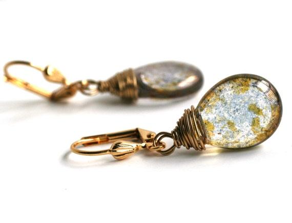 Picasso Czech Glass Earrings, Gold Earrings, Wire Wrapped, Blue, Mustard, Gold by SimplySleek