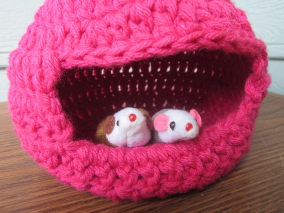 Pink Crochet Pet house Collapsible Bed  for mice, gerbils, hamsters READY TO SHIP
