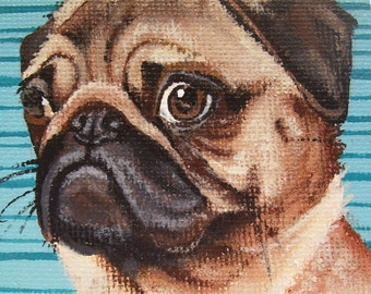 Pug Miniature Painting with Easel
