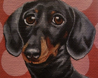 Dachshund Miniature Painting with Easel
