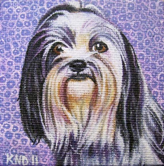 Shih Tzu Miniature Painting with Easel