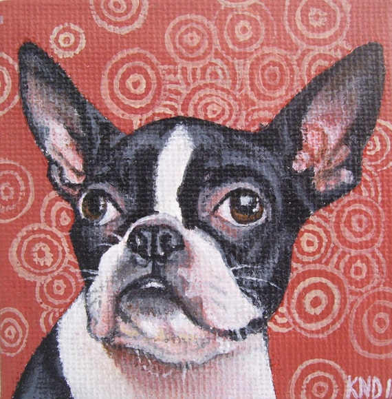 Boston Terrier Miniature Painting with Easel