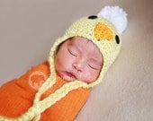 Duck Beanie hat with pom pom baby chick any size Great for photo prop girl or boy FREE SHIPPING