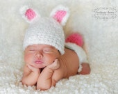 Bunny hat and diaper cover set with tail Newborn Only perfect for photo prop girl or boy FREE SHIPPING