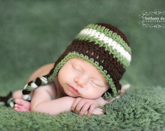 Basic Beanie With Earflaps and ties Any Size Great for photo prop girl or boy FREE SHIPPING