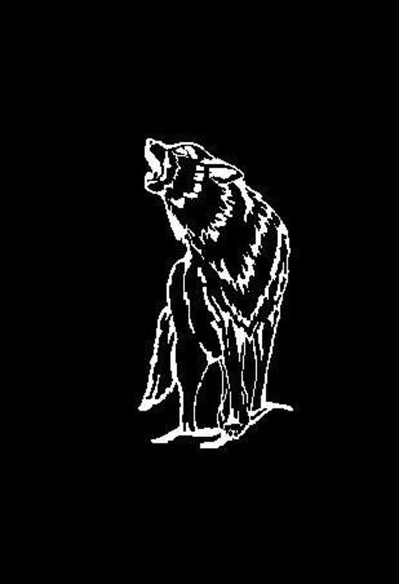 Howling Wolf Decal - White Vinyl