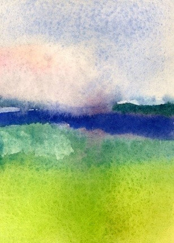 Art Print, Watercolor, Meadow by the Sea